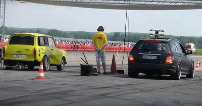Trabant zersägt Mercedes E63 AMG!